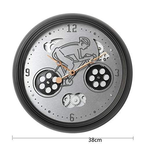MGE UPS Systems Clock Wall ClockCreative Wall Clock Mechanical Clock Metal Rotatable Personality Electronic Clock Wall Clock (Black 38 38cm Pack of 1)