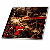 3dRose Alexis Photography - Transport Railroad - Vintage steam train. In full steam. Stylized photo - 6 Inch Glass Tile (ct_270611_6)
