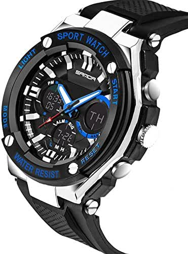 Kids Watch Led Light Calendar Black Rubber Strap Large Dial Waterproof Sport Watch Swimming Black+Blue