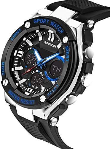 Kids Watch Led Light Calendar Black Rubber Strap Large Dial Waterproof Sport Watch Swimming Black+Blue