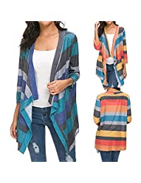 Wildtrest Women Casual Long Sleeve Patchwork Loose Long Cardigan Open Stitch Cardigans