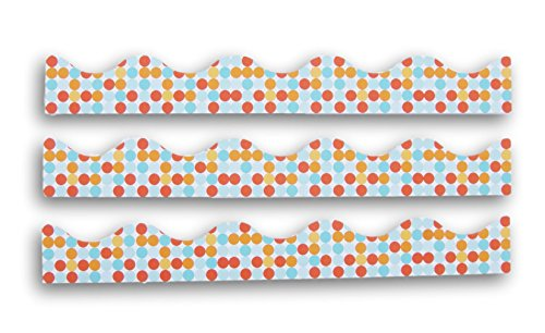 Classroom Decor Polka Dot Patterned Wall Borders - Set of 14