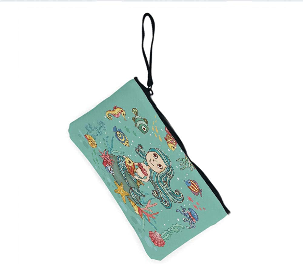 Canvas Coin Purse Zipper Coin Holder Mini Wallet Bags Cosmetic Makeup Bags,Theme with Little Mermaid Fish Sea Creatures Retro