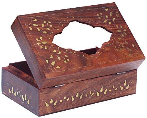 Wood Rectangular Tissue Box Cover / Tissue Holder - Perfect-Fit Wooden Tissue Paper Dispenser for Kleenex Tissue Box Pack