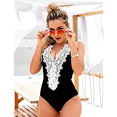 Blooming Jelly Women's Vintage One Piece Swimsuit Lace Tummy Control Halter Swimwear Bathing Suit at Women's Clothing store