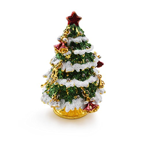 Aisa® Beautiful Christmas Tree Jewelry Trinket Box with Gift Box