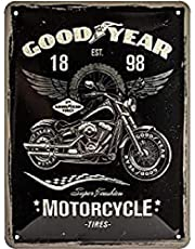 Nostalgic-ArtGoodyear - Motorcycle - Gift idea for car and motorcycle fansRetro Tin SignMetal PlaqueVintage design for decoration15 x 20 cm