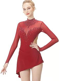 TQ Pattinaggio di Figura Vestito per Ragazze Donne, Pattinaggio a Mano Concorso di Danza Costume con Cristalli a Maniche Lunghe Roller Skate Dress Maglie Vino Rosso