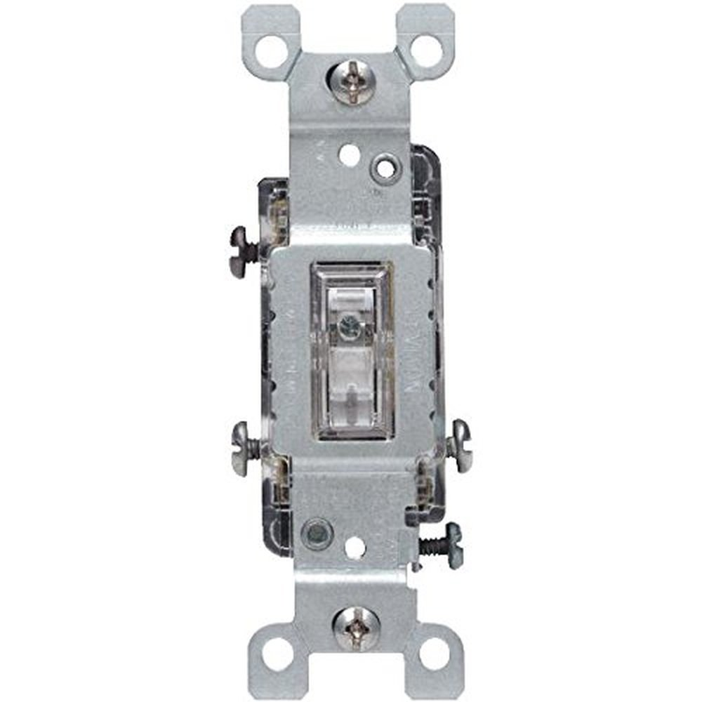 Leviton 1463-LHC 15 Amp, 120 Volt, Toggle Lighted Handle, Illuminated OFF 3- Way AC Quiet Switch, Residential Grade, Grounding, Clear - Wall Light  Switches ...
