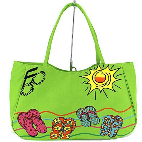 Hawaii Bag (ZX-Boutique Large Size Women Shoulder Tote Shopping Beach Bag with Zipper Top,Green)