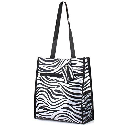 Zodaca Lightweight All Purpose Travel Tote Bag, Zebra