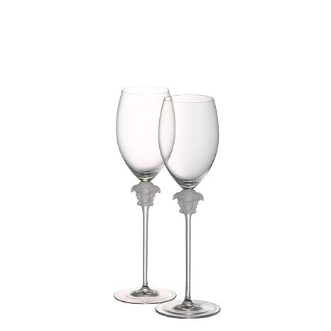 Para copas de cristal copas de vino blanco Rosenthal Versace Medusa Lumiere/elegante diseñado por