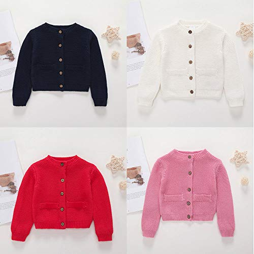 H.eternal Baby Knitted Sweater Long Sleeve Cardigan with Pockets Spring Autumn Jacket Button up Sweatshirt Cute Winter Warm Outwear Tops Coat Gray
