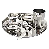 WhopperIndia Set of 7 Pices Dinnerware Stainless Steel Traditional Dinner Family pack for Children and Adult And Home/kitchen/picnic ware Outdoor Use or Multi purpose use