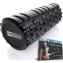 Fit-Nation Foam Roller for Muscle Massage with Exercise Book, Ultra Strong Solid Core Muscle Roller for Deep Pain Relief in Your Aching Legs and Body. Ideal For Runner Cyclist Cross Fit Athlete