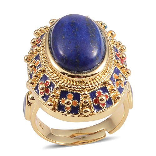 Shop LC Delivering Joy Lapis Lazuli Goldtone Blue Cocktail Adjustable Ring for Women 6 Cttw Fashion Jewelry