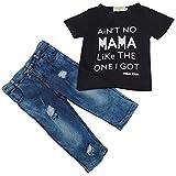 Ma&Baby Newborn Toddler Infant Baby Boys Clothes T-shirt Top+Denim Pants Outfits (5T, Black&Denim)