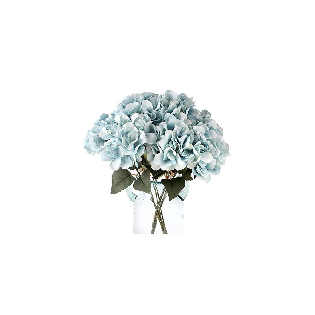 Blooming Paradise Artificial Fake 5Flowers Plants Silk Hydrangea Arrangements Wedding Bouquets Decorations Plastic Floral Table Centerpieces Home Kitchen Garden Party Festival Bar DIY(Sky Blue)