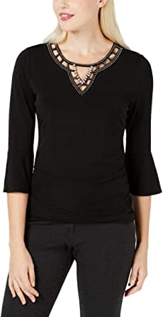 A. Byer Junior's Bell Sleeve Dressy Top with Embelishment