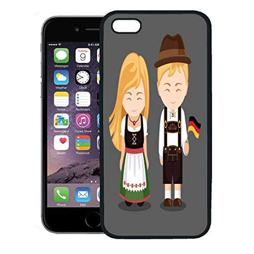 Semtomn Phone Case for iPhone 8 Plus case,Germans in National Dress Flag Man and Woman Traditional Bavarian Costume Travel to Germany People iPhone 7 Plus case Cover,Black]()