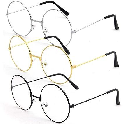ce54001ade9 Voiks Metal Frame Round Eyeglasses Retro Metal Clear Lens Glasses ...