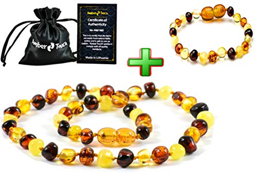 Baltic Amber Teething Necklace for Babies (Unisex) - Anti Flammatory Drooling Teething Pain Reduce Properties - Certificated Natural Baltic Amber with the Highest Quality (Multi)