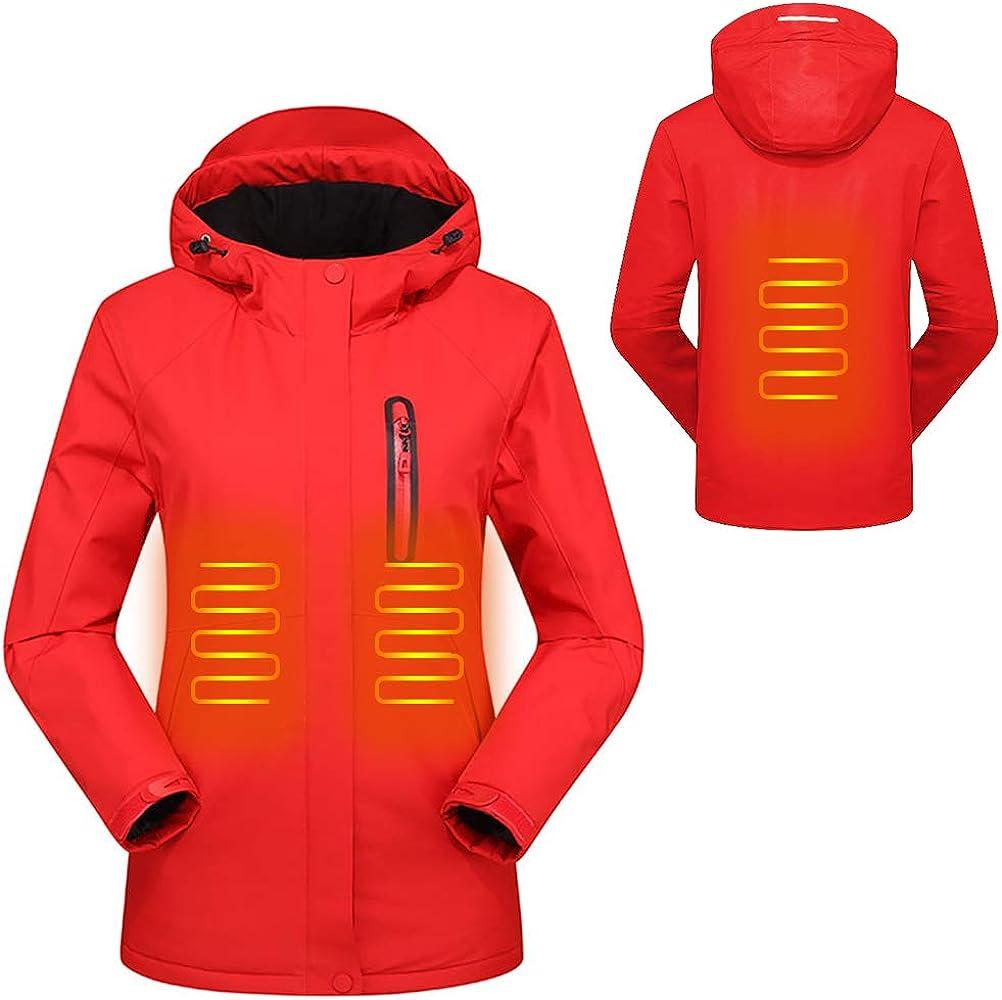 Mekta - Chaqueta cálida para el tiempo libre, corte ajustado, climatizado, impermeable, con capucha
