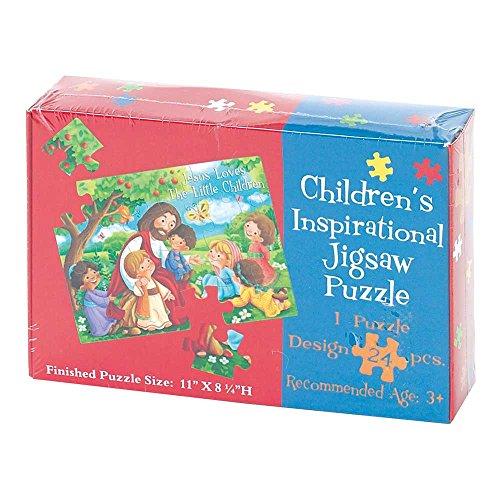 Jesus Loves Little Children 11 x 8 Cardboard 24 Piece Childrens Puzzle and Devotion (Religious Puzzles Childrens)