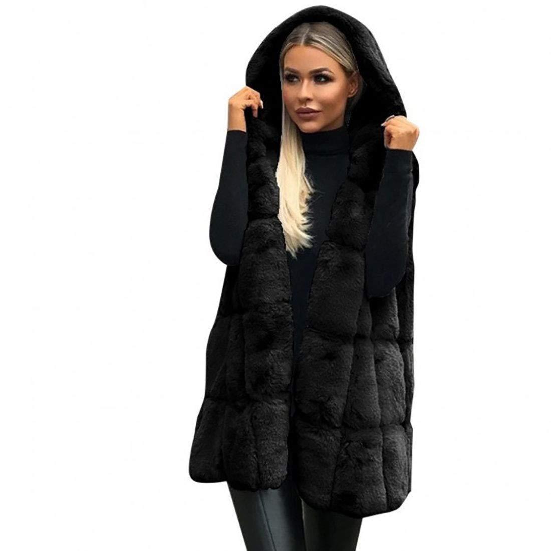 Yesgirl Donna Caldo Cardigan Senza Maniche Accogliente Morbido in Pelliccia Sintetica Tinta Unita Gilet Cappotto Invernali Eleganti Moda