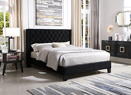Zis-Azure Upholstered Wingback Platform Queen Bed, Black