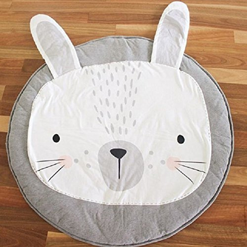 BenchMart Cute Animal Soft Climbing Carpet Baby Play Mats Sleeping Mat, Cartoon Baby Infant Creeping Mat Playmat Encourages Learning, Ideal for Tummy Time, For Baby, Kids, and Toddlers, 35.5 Inch Diameter (Grey Rabbit)