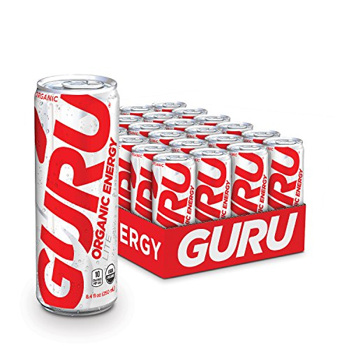 GURU Lite Natural Energy Drink – Low Calorie, Vegan, Organic Energy Drinks – Experience Energy Without the Jitters, Rush or Crash – 24 x 8oz/250ml Cans