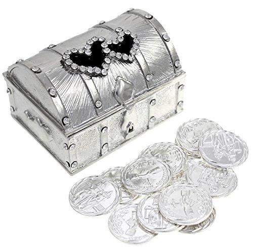 Wedding Unity Coin Set - Arras de Boda - Treasure Double Heart Chest Box with Decorative Rhinestone Crystals 68 (Silver)