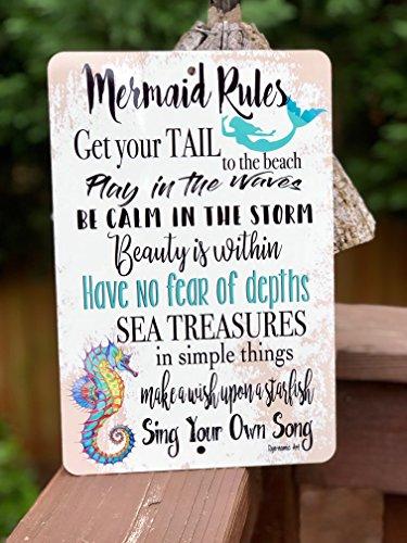 Mermaid Rules Metal Sign Beach Decor Metal Sign Home Decor Mermaid Sign Kids Room Ocean Life