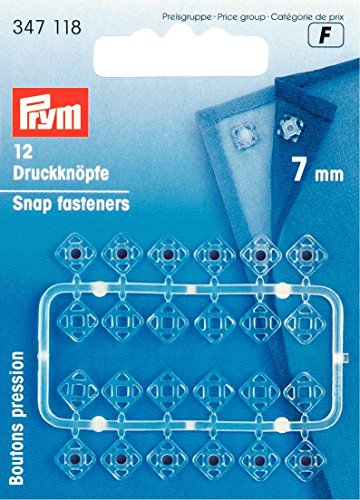 PRYM 7 mm 12 Set Plastic Sew On Snap Fasteners, Transparent - 347118 (7mm Snap)