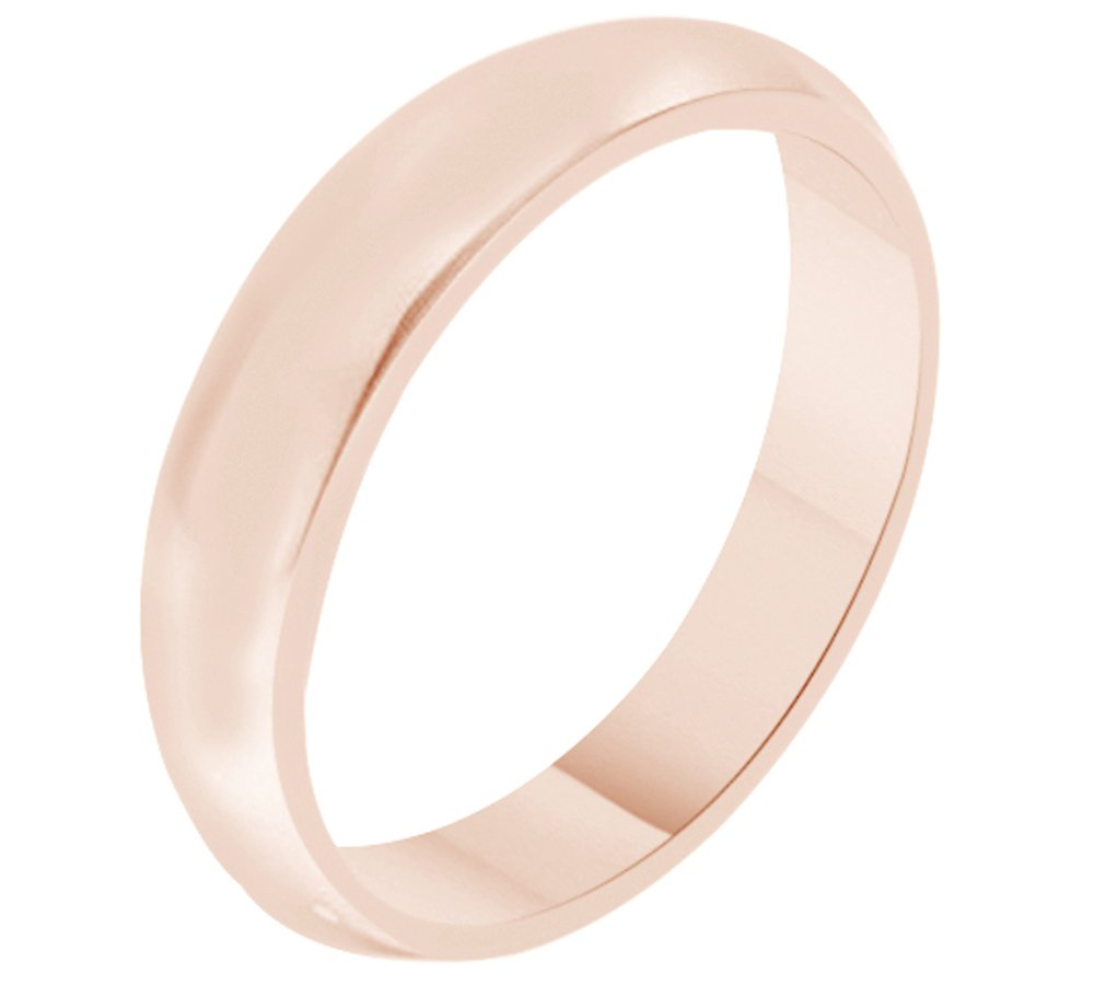 Solid 14K Rose Gold 4MM Comfort Fit Men & Women Wedding Band Ring