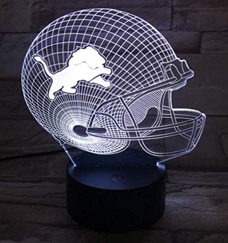 - QiXian Night Light Wall Lamp Led Lamp USB Desktop Table Lamp 3D Light Led Detroit Lion Football Cap Helmet 7 Color Touch Switch Light Home Decoration for Kitchen Bedroom Living Room