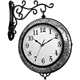 GZD Industrial Style Wall Clock,Retro Rustic Style Iron Two-Sided Shattered Glass Wall