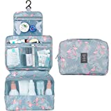 Hanging Travel Toiletry Bag Cosmetic Make up Organizer for Women and Girls Waterproof (Flamingo)