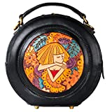 ANCICRAFT Genuine Leather Handmade Partial Carved Sleeping Beauty Pattern Round Handbag Tote Shoulder Bag Black