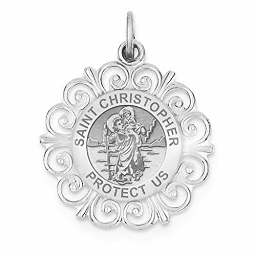 [Saint Christopher Round Filigree Religious Medal - 1 Inch Size of a Quarter in Solid 14K White Gold] (14k White Gold Religious Medal)
