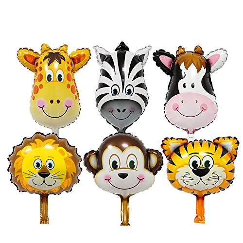 Ballons & Accessories - 6pcs Set Multicolor Lovely Mini Animal Head Foil Balloons Inflatable Baby Shower Party Decor - Shower Filter Head Ballons Spray Clock Shower Shower Hand Shower Enema Led