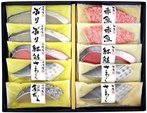 高橋商店 漬魚詰合せ 粕漬(ぶり2切、紅鮭1切、赤魚2切)、味噌漬(銀だら1切、 さわら1切、赤魚1切、ぶり2切)