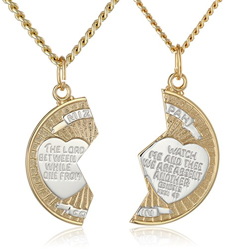 14k Gold-Filled Two-Tone Round Mizpah Pendant Necklace with Stainless Steel Chains, 20