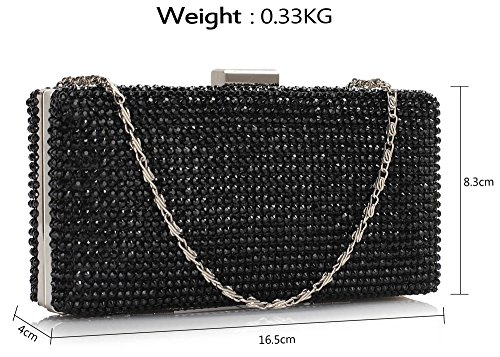 Design Hardcase Box Party Sparkly Handbag Clutch For Black Chain Wedding Look Diamante With 1 Bag Designer Evening Aq6d6Xw