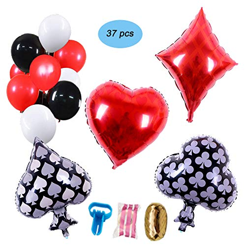 Casino Night Party Decorations, Balloon Party Supplies Set for Las Vegas Party,Casino Theme Birthday Party,Poker Events, Wedding Party,Black,Red,White Latex Balloons and Poker Foil Balloons]()