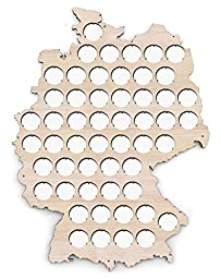 Germany Beer Cap Map - 12x16 inches - 53 caps - Beer Cap Holder Germany - Birch Plywood