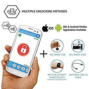 eGeeTouch Luggage Lock with Patented Dual Access NFC + Bluetooth technologies