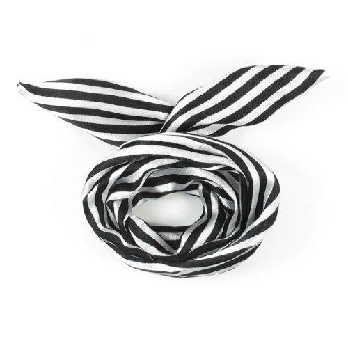 eDealMax Tejido recubierto de Rayas de impresin Pelo de las Mujeres de la bufanda de la Venda Principal, Blanco Negro, 0,03 la Libra