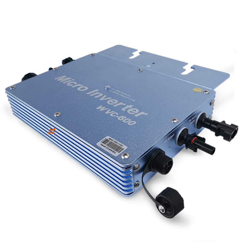 Marsrock Waterproof IP65 600W Micro Grid tie Solar PV Inverter Converter, 22-50VDC to 80-160VAC, High Efficiency MPPT Pure sine Wave Inverter for 300-720W 30V or 36V Solar PV System (600W 110V Blue) by Marsrock